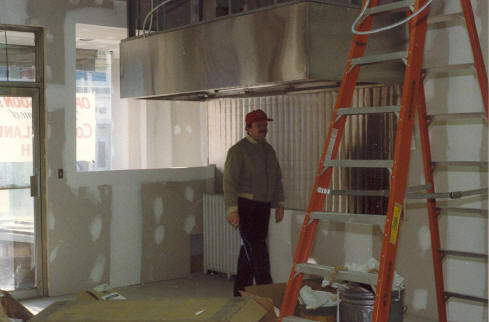Pete looks in on the renovations. (1987)